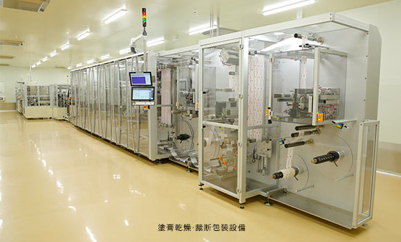 Facilities for applying, drying, cutting and packaging ointments